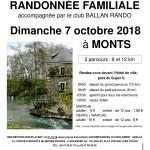 Randonnée familiale le dimanche 7 octobre prochain à Monts (37)